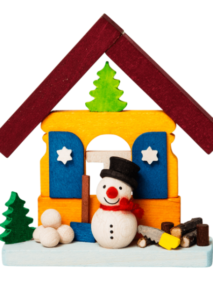 Produktbild GM21ORN013 – House Snowman with wood stack